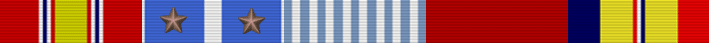 National Defense Service Medal; Korean Service Medal with 2 Stars; United Nations Service Medal; Good Conduct medal; Combat Action Ribbon