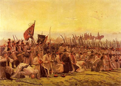"Jozef Chelmonski. ""The prayer before a battle (Racławice)"", 1906"