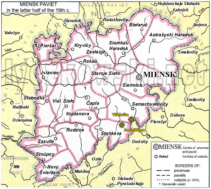 Miensk district map