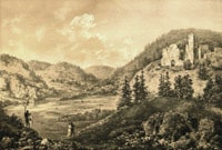 Roznow on Dunajec river. Ruins of the ancestral castle of Zawisza the Black. Galicia. Water-colour of N.Orda. 19th c.